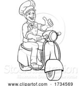 Vector Illustration of Cartoon Chef Moped Scooter Food Delivery Guy Cartoon by AtStockIllustration