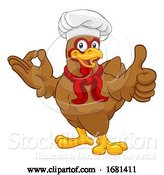 Vector Illustration of Cartoon Chicken Chef Rooster Cockerel Thumbs up Perfect by AtStockIllustration