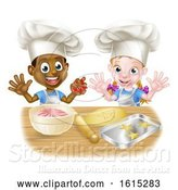 Vector Illustration of Cartoon Children Baking in Chef Hats by AtStockIllustration