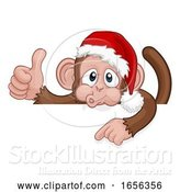Vector Illustration of Cartoon Christmas Monkey Character in Santa Hat by AtStockIllustration