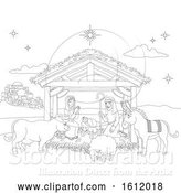 Vector Illustration of Cartoon Christmas Nativity Scene Coloring by AtStockIllustration
