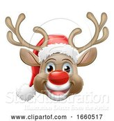 Vector Illustration of Cartoon Christmas Reindeer Deer Wearing Santa Hat by AtStockIllustration