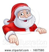 Vector Illustration of Cartoon Christmas Santa Claus Face Pointing over a Sign by AtStockIllustration