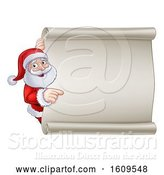 Vector Illustration of Cartoon Christmas Santa Claus Pointing Around a Blank Scroll Sign by AtStockIllustration