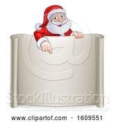 Vector Illustration of Cartoon Christmas Santa Claus Pointing down over a Blank Scroll Sign by AtStockIllustration