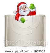 Vector Illustration of Cartoon Christmas Santa Claus Waving over a Blank Scroll Sign by AtStockIllustration
