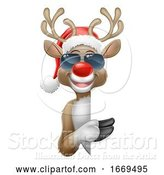 Vector Illustration of Cartoon Christmas Santa Hat Reindeer Sunglasses Sign by AtStockIllustration