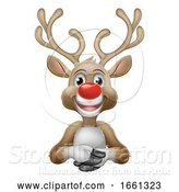 Vector Illustration of Cartoon Christmas Santas Reindeer Character by AtStockIllustration