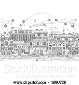 Vector Illustration of Cartoon Christmas Snow Houses Coloring Outline Scene by AtStockIllustration
