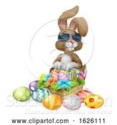 Vector Illustration of Cartoon Cool Easter Bunny Rabbit Eggs Hunt Basket Cartoon by AtStockIllustration