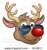 Vector Illustration of Cartoon Cool Reindeer Christmas Character Shades by AtStockIllustration