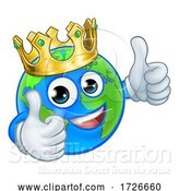 Vector Illustration of Cartoon Crown Earth Globe World Mascot Character by AtStockIllustration