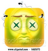 Vector Illustration of Cartoon Dead Square Emoticon by AtStockIllustration