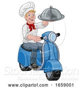 Vector Illustration of Cartoon Delivery Chef Scooter Moped Takeout Guy by AtStockIllustration