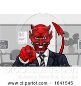 Vector Illustration of Cartoon Devil Evil Business Man in Suit Pointing by AtStockIllustration