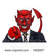 Vector Illustration of Cartoon Devil Evil Business Man Pointing in Suit by AtStockIllustration