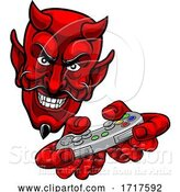 Vector Illustration of Cartoon Devil Gamer Video Game Controller Mascot Cartoon by AtStockIllustration