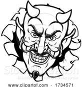 Vector Illustration of Cartoon Devil Satan Evil Mascot Face by AtStockIllustration