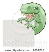 Vector Illustration of Cartoon Dinosaur T Rex Peeking and Pointing Sign Cartoon by AtStockIllustration
