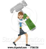 Vector Illustration of Cartoon Doctor Lady Holding Hammer Mascot Concept by AtStockIllustration
