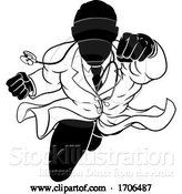 Vector Illustration of Cartoon Doctor Superhero Silhouette Medical Concept by AtStockIllustration