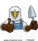 Vector Illustration of Cartoon Eagle Bricklayer Builder Holding Trowel Tool by AtStockIllustration