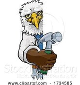 Vector Illustration of Cartoon Eagle Carpenter Handyman Builder Holding Hammer by AtStockIllustration