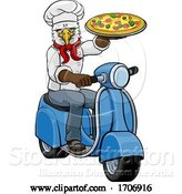 Vector Illustration of Cartoon Eagle Chef Pizza Restaurant Delivery Scooter by AtStockIllustration