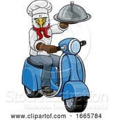 Vector Illustration of Cartoon Eagle Chef Scooter Delivery Mascot by AtStockIllustration