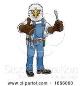 Vector Illustration of Cartoon Eagle Electrician Handyman Holding Screwdriver by AtStockIllustration