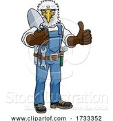 Vector Illustration of Cartoon Eagle Gardener Gardening Animal Mascot by AtStockIllustration