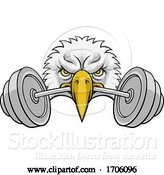 Vector Illustration of Cartoon Eagle Head Barbell Lifting Weight Gym Mascot by AtStockIllustration