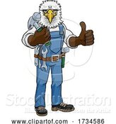 Vector Illustration of Cartoon Eagle Mascot Carpenter Handyman Holding Hammer by AtStockIllustration