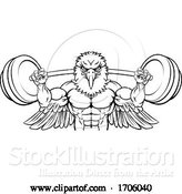 Vector Illustration of Cartoon Eagle Mascot Weight Lifting Barbell Body Builder by AtStockIllustration