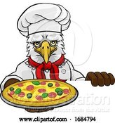 Vector Illustration of Cartoon Eagle Pizza Chef Restaurant Mascot Sign by AtStockIllustration
