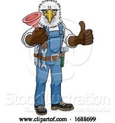 Vector Illustration of Cartoon Eagle Plumber Mascot Holding Plunger by AtStockIllustration