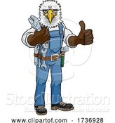 Vector Illustration of Cartoon Eagle Plumber or Mechanic Holding Spanner by AtStockIllustration