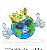 Vector Illustration of Cartoon Earth Globe King Sunglasses World Mascot by AtStockIllustration