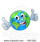 Vector Illustration of Cartoon Earth Globe World Mascot Character by AtStockIllustration