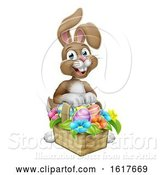 Vector Illustration of Cartoon Easter Bunny Rabbit Eggs Hunt Basket Cartoon by AtStockIllustration