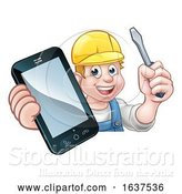 Vector Illustration of Cartoon Electrician Handyman Phone Concept by AtStockIllustration