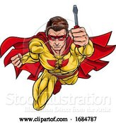 Vector Illustration of Cartoon Electrician Handyman Superhero Holding Screwdriver by AtStockIllustration
