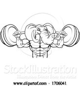 Vector Illustration of Cartoon Elephant Mascot Weight Lifting Body Builder by AtStockIllustration