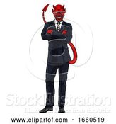 Vector Illustration of Cartoon Evil Devil Business Man in Suit by AtStockIllustration