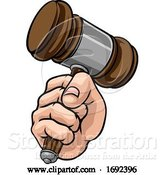 Vector Illustration of Cartoon Fist Hand Holding Judge Hammer Gavel Cartoon by AtStockIllustration