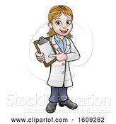 Vector Illustration of Cartoon Friendly White Female Doctor Holding and Pointing to a Clipboard by AtStockIllustration