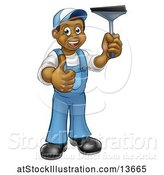 Vector Illustration of Cartoon Full Length Black Male Window Cleaner in Blue, Giving a Thumb up and Holding a Squeegee by AtStockIllustration