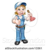 Vector Illustration of Cartoon Full Length Female Plumber Giving a Thumb up and Holding a Plunger by AtStockIllustration