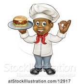 Vector Illustration of Cartoon Full Length Male Chef Holding a Cheese Burger on a Tray and Gesturing Perfect by AtStockIllustration