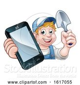 Vector Illustration of Cartoon Gardener Phone Concept by AtStockIllustration
